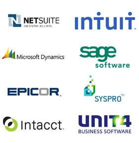 Logos of leading accounting software vendors